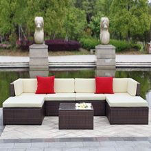 iKayaa 7PCS Cushioned Outdoor Patio Garden Furniture Sofa Set Ottoman Corner Couch Sectional Furniture Rattan Wicker DE Stock
