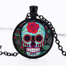 SUTEYI Classic Mexican Sugar Skull Pendant Day of the dead Necklace Silver Color Chain Skull Glass Necklaces For Men Jewelry