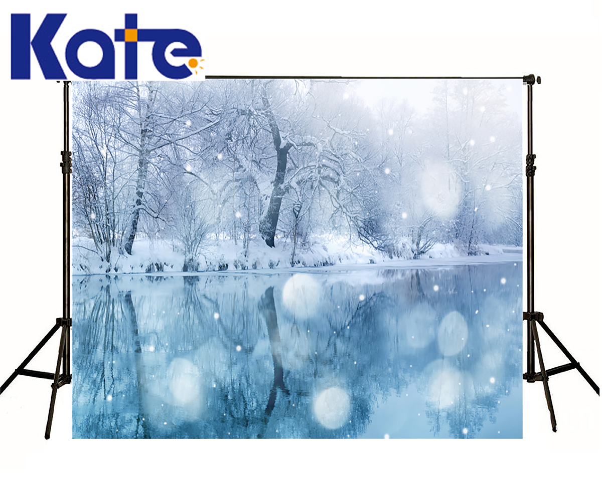 KATE Photography Backdrop 5x7ft Winter Lighting Dream Spot Scenery Lake Reflected Snow Forest Backgrounds For Photo Shoot<br>