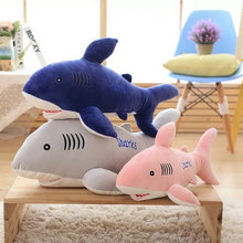 55-85cm Cute Blue Shark Plush Toys soft goat Fish Cloth plush Doll Stuffed plush animals Christmas present For Baby gift