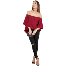 Women Blouse Chic Brief Slash Neck Off Shoulder Flare Half Sleeve Back Opening Shirt Choker Blouses Tops Female Blusas(China)