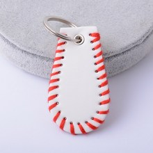 2017 New Softball And Baseball Keychain Rainbery 3 Color (Yellow White Orange) Woven Leather Key Chain