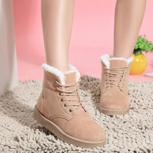2017 Hot Sale Fashion Women Boots Flat Ankle Lace Up Fur Lined Winter Warm Snow Shoes Size 36-40 feet Girl short boots Wholesale