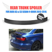 Carbon Fiber Auto Car Rear trunk Wing lip Spoiler for Audi A3 standard and  S3 Sedan 4-Door 2013-2016