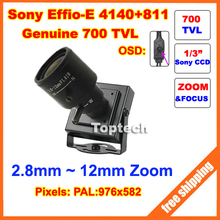 700TVLines 960H Sony Effio-E CCD 2.8-12mm varifocal lens OSD Menu Mini cctv camera . Free Shipping