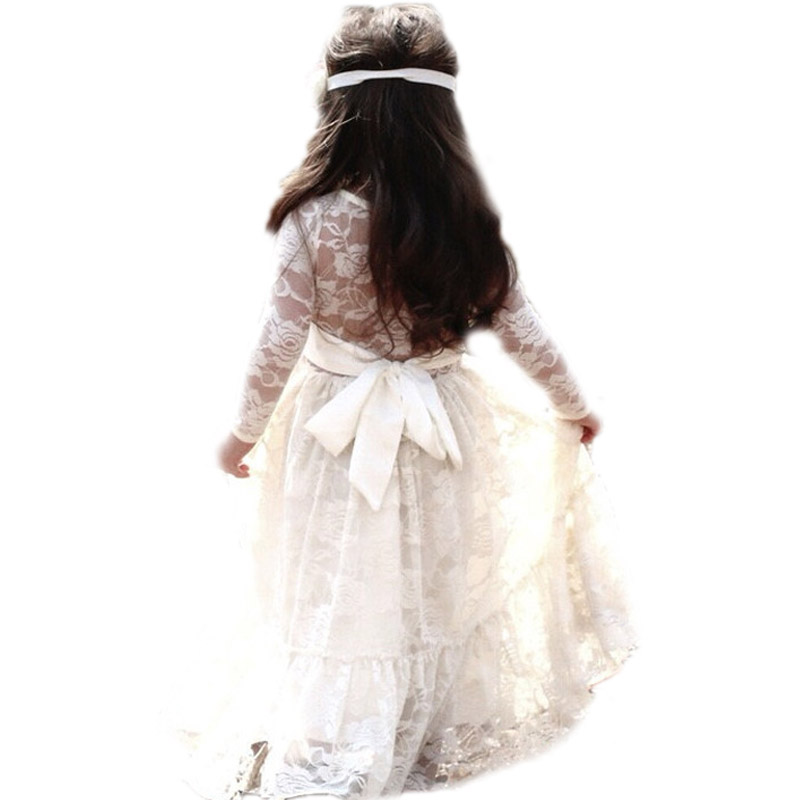 Ins*girls summer dresses 2017 new kids wedding dresses long sleeve lace girls princess costume robe princesse enfant 2-13T<br>