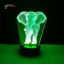 YIMIA Novelty Elephant 3d Lampe Motion Sensor USB LED Night Lights Battery Operated Led Table Lamp Baby Kids Sleeping Nightlight(China)