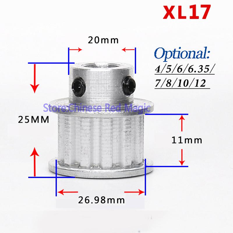 XL16-XL17-XL18-XL19-XL20-16-20tooth-Timing-Pulley-Aluminum-3D-Printer-Parts-XL-teeth-Bore