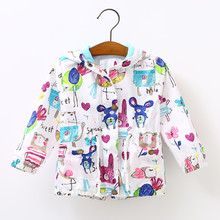2017 Girls spring jacket hooded coats for boys fashion childrens jackets outdoor 0-5Years kids sunscreen girls clothes scrawl