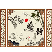 [SHIJUEHEZI] Bamboo Cranes Mountain Fish Wall Stickers Chinese Style Mural Art for Living Room Study Room Office Decoration
