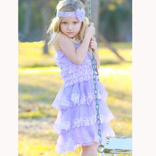 Girls Clothes Lavender Lace Chiffon Dress Toddler Infant Flower Girls Dress for Wedding Party Baby Photo Prop Costume