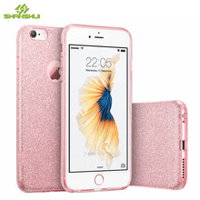 Case for iPhone 6 6s 7 Plus for iPhone 8 X Glitter Luxury Cute Girl Lady Bling Rose Gold Pink Slilcone Sparkle Phone Cover Coque(China)