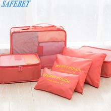 SAFEBET 6 PCS Travel Portable Storage Bag Set Fashion Waterproof Multifunction Clothing Shoes Cosmetics Categories Organizer Bag(China)