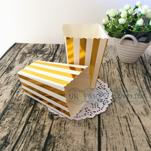Buy 24pcs Treat Boxes Popcorn Boxes Foil Gold Stripe Candy Buffet Treat Snack Gift Boxes Wedding Birthday Decor for $15.80 in AliExpress store