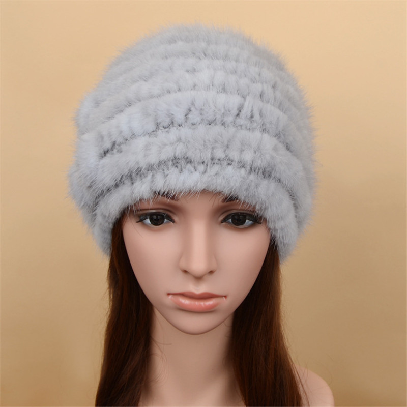 New Women Autumn Winter Warm Mink Fur Hats Female Knitted Beanie Thick Cap Head Ears Warm Hat Real Fur Knitting Beanies