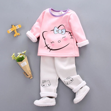Infant Girl Winter Autumn Clothing Sets Children Cartoon Hello Kitty Warm T Shirt Jacket Pants Baby Kids Velvet Clothes Suit(China)