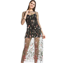 Lining+Dress Newest Fashion Mesh Flower Floral Embroidery Runway Maxi Women Black Bohemia Beach Perspective Long Dress 4016