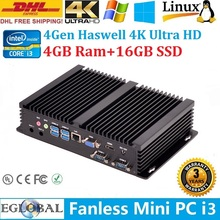 Industrial Fanless Computer Home mini PC IPC Win8 or Win7 Preinstalled freely Intel Core i3 4010U 4GB Ram 16GB SSD