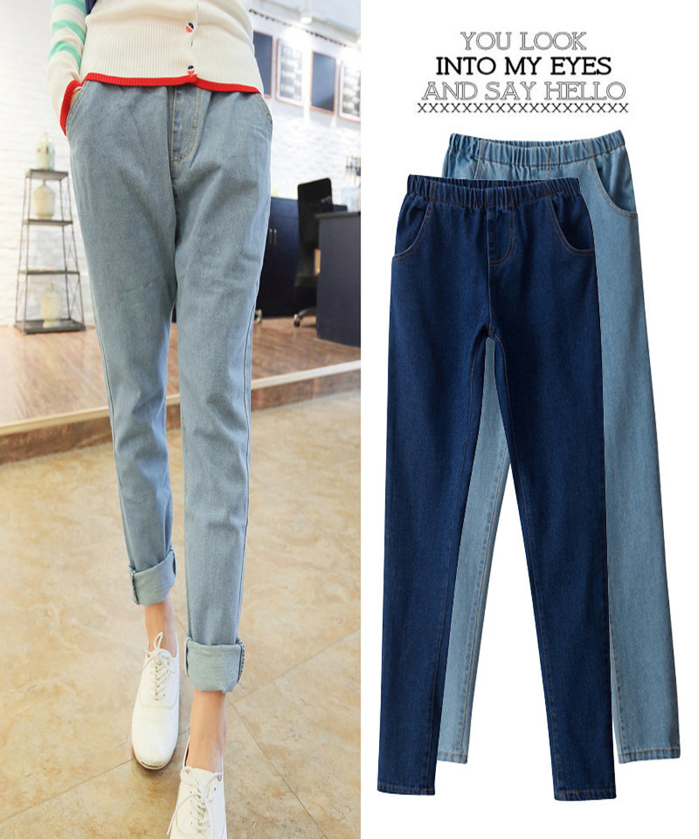 high quality New pattern Trend Two colors womens Jeans Female trousers Elastic waist Easy Haren female jeanОдежда и ак�е��уары<br><br><br>Aliexpress