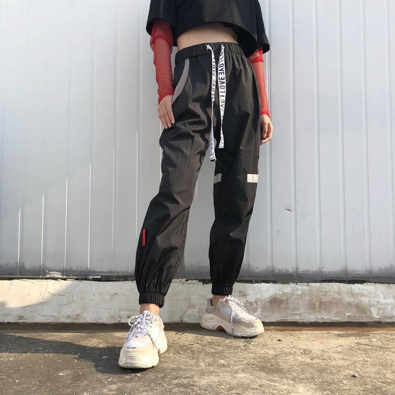 7Sweetown Plus Size Pantalon Large Femme Black Harajuku Cargo Sweat Pants Korean Style High Waist Baggy Joggers Women Sweatpants