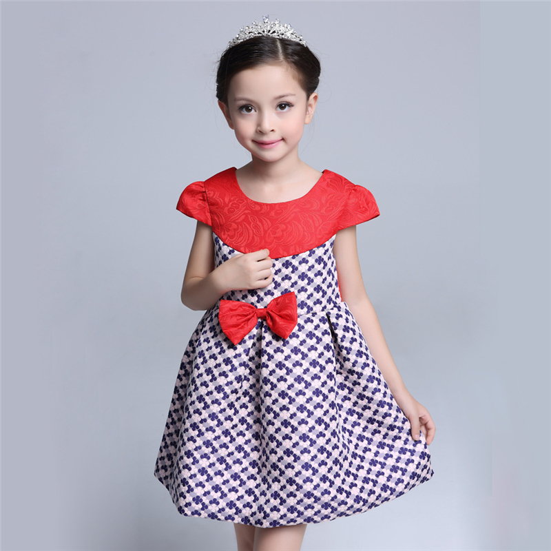 2017 Fashion Bow Girls Party Dresses High Quality Red Children Dress Print Girls Princess Dresses Spring Summer Kids Brand Dress<br><br>Aliexpress