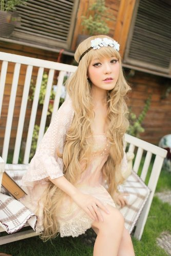 100 Cm Super Long Lolita Full Natural Wavy Heat Resistant Hair Wig Blonde Wigs Harajuku Anime Cosplay Peruca Pelucas<br><br>Aliexpress