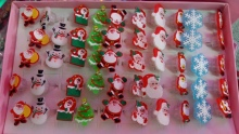 LED shine ring Santa Claus snowflake snowman shine ring cartoon ring mixedlot 50pcs/lot(China)