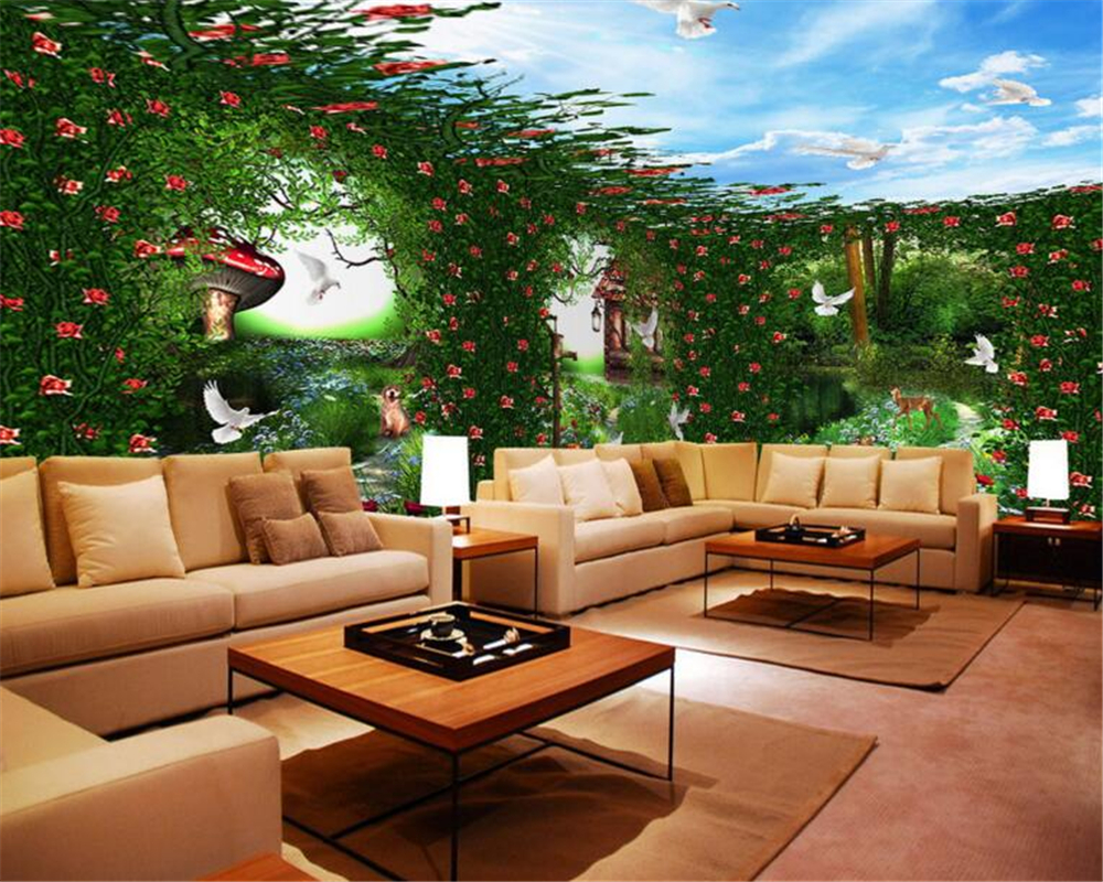 3D background wallpaper green fantasy forest whole house background wall theme space TV sofa background wallpaper for walls 3 d<br><br>Aliexpress