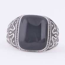 STOCK 2016 high quality Antique silver plated black stone Ring for women free samples wholesale