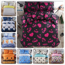 Boy Girl Loving Heart Beds Set 4pcs King Queen Twin Double Size Bed Sheet 1.5m 1.8m 2.0m 2.2m Duvet Covers Pillowcase Bedlinens(China)