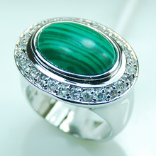 Malachite White Crystal Zircon 925 Sterling Silver Ring Size 6 7 8 9 10 F984(China)