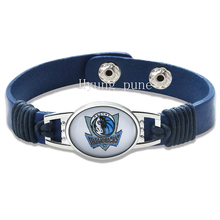 6pcs/lot! Dallas Basketball Genuine Leather Adjustable Bracelet Wristband Cuff 12mm Blue Leather Snap Button Charm Jewelry