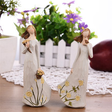 New! Beautiful Resin Angel Ornaments Crafts Artificial Flower Fairy Figurines Wedding Creative Gifts For Kids Free Shipping