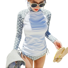 Hot sale High Quality 2016 women sexy Rash Guards with Long Sleeves Sun Prodected Diving Suit wetsuit surfing wear bathing suit(China)