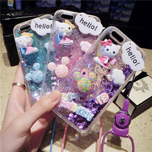 Dynamic Liquid Glitter Sand Soft Silicone Cover For Huawei P10 Lite P9 Lite P8 Lite P9 Plus Rhinestone Kitty Doll Phone Case