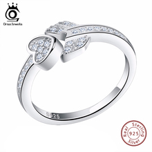 ORSA JEWELS Heart&Arrow Lock CZ Paved Rings Silver 925 Jewelry Fashion Adjustable Rings Gift for lover SR05(China)