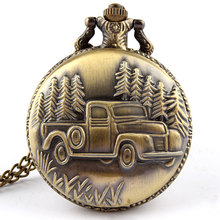 Free shipping Antique Car Truck Pendant Quartz Pocket Watch Necklace Chain Mens New Gift P137 relogio de bolso