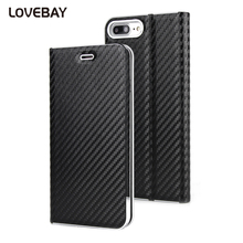 Lovebay Flip Phone Case For 6 6s Plus 7 7 Plus Luxury Carbon Fiber PU Leather Magnetic Card Slot Phone Case Full Cover Shell