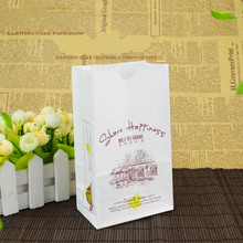 Greaseproof White Paper Bag Square Bread Biscuit Packaging Bags Baking Food Paper Bag Gift Packaging 50pcs/lot