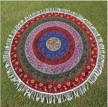 1.63M Large Cotton Round Beach Towel Tassels Knitted Throw Tapestry Tablecloth Round Yoga Mat Swimming