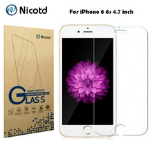 "Nicotd 9H 0.3mm 2.5D Arc Scratch-resistant Tempered Glass for iPhone 6 6s 4.7"" Explosion Proof Toughened Screen Protector Film"