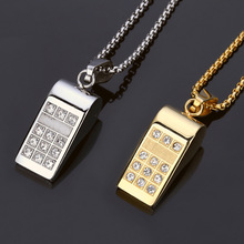 Whistle Steel Jewelry Gifts Men Women Golden Charm Rhinestone small Pendants Chains Bling Crystal Stone Necklaces(China)