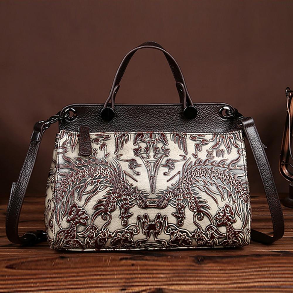 Top Quality Cowhide Genuine Leather Single Shoulder Bag Women Vintage Embossed Pattern Crossbody Bags Travel Casual Tote Handbag<br>