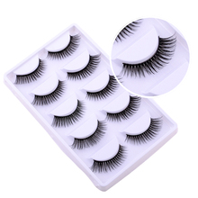 5Pairs/set Imported fiberBlack Cross False Eyelash Soft Long Makeup Eye Lash Extension Natural Long Fake Eyelashes FREE shipping