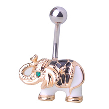 New arrival Gold Body Jewelry Elephant Navel Piercings Belly White Enamel Button Rings Navel Rings Women Girls Bikini Bijoux Bar