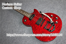 Custom Design Chinese LP Custom Electric Guitar Black Binding Clear Pickguard Bigspy Tremolo In Stock For Sale