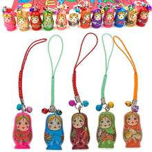 12pcs Fashion Jewelry Drip Charm Key Chains Wood Matryoshka Russian Dolls Keychains Decorative Gifts Random Color CX174(China)