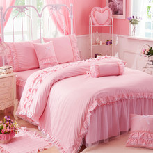 2017 luxury cotton linens 4pcs bedding set twin full queen King size bed bedspread wedding pink lace duvet cover set pillowcase