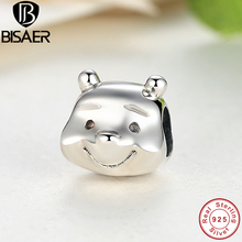 Real 925 Silver Lovely Bear Portrait Animlal Figures Charm imitation & Fit Pan Bracelet Necklace DIY Gift Jewelry HJS195(China)
