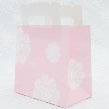 Pink lace print small Paper handle Bags,macaron handle bag,Gift packaging bags  30pcs/lot  15x15x9cm